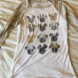 3/4 sleeve mickey and Minnie Mouse tee